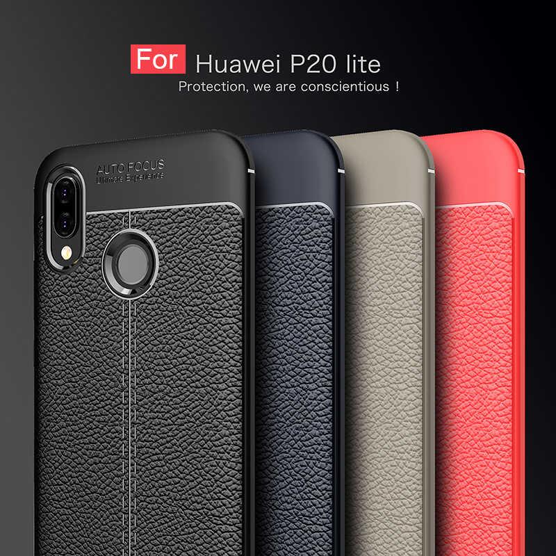 Sang trọng Sợi Carbon TPU da Trường Hợp Đối Với Huawei P20 Lite Mềm Full Bìa Silicone chống sốc Cover Quay Lại Đối Với Huawei P20 pro trường hợp