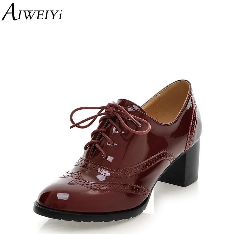 58b9297de9 AIWEIYi High Heel Shoes Woman Ladies Oxfords Shoes Women Spring Women Pumps  Shoes Soft PU Leather