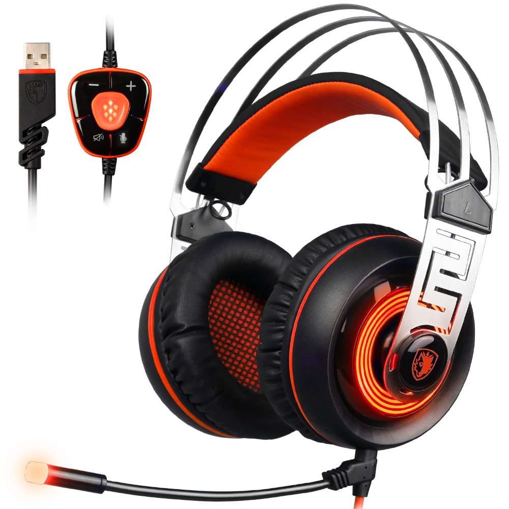 SADES A7 7.1 Virtual Surround Sound Gaming Headset USB Wired Luminous Headphones with Microphone for PC Laptop Computer Gamer sades sa 902 gaming headphones with microphone mic led light usb 7 1 surround sound pc headset gaming earphone for compuer gamer