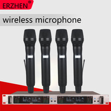 Professional Wireless Microphone System 405GT 4-Channel UHF Dynamic Professional 4 Headphones Collar Line Conference 500m 3 channel silent disco sound system headphones rf wireless headsets 20 folding headphones 1 transmitters
