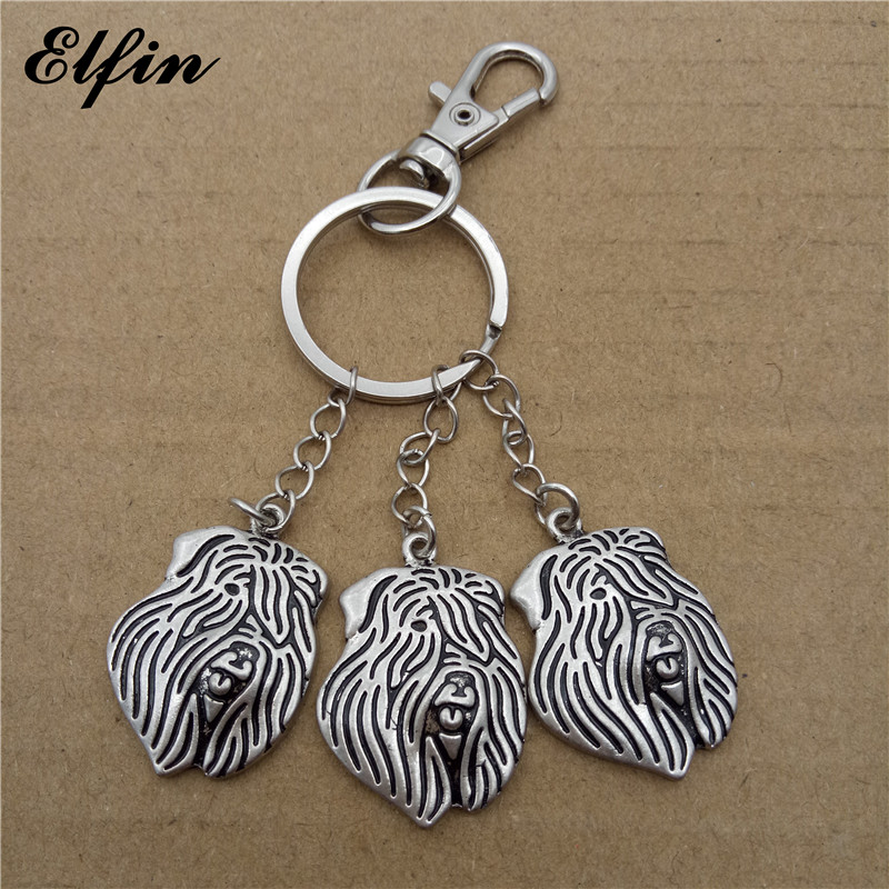 Elfin 2018 Trendy Bouvier des Flandres Key Chains Antique Silver Plated Animal Pet Memorial Jewellery Dog Key Rings
