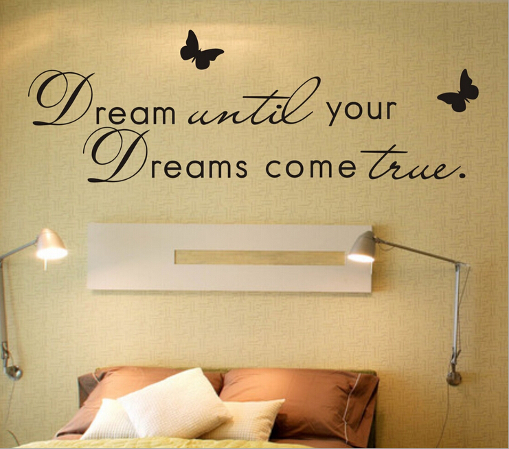 Free Shipping Dream Until Your Dreams Come True... Romantic Warmly Quotes Living Room DIY Vinyl Wall Decal Stickers Home Decor