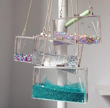 transparent rectangular acrylic woman party bag double sided liquid hand bag mini purse clear glitter star