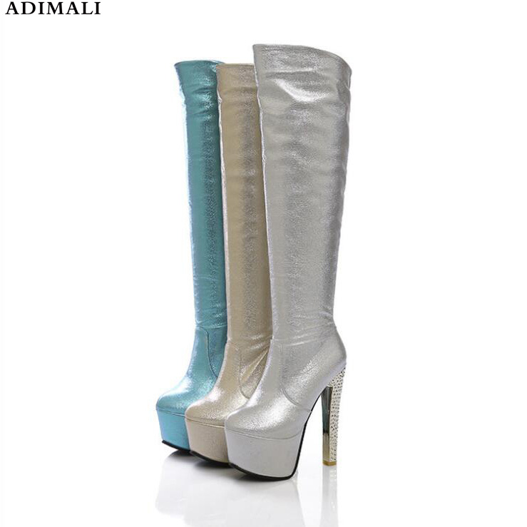 2018 Cuisse haute bottes Genou Sexy haute Bottes Femmes Designer Bout Pointu Compensées En Cuir augmenter la Hauteur Haut talon Chaussures Femme