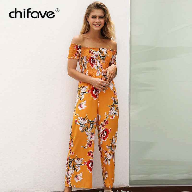 2763fa6d29c Women Summer Sexy Off Shoulder Jumpsuit Short Sleeve Casual Wide Leg Rompers  Boho Floral Printed Elastic Waist Overalls chifave