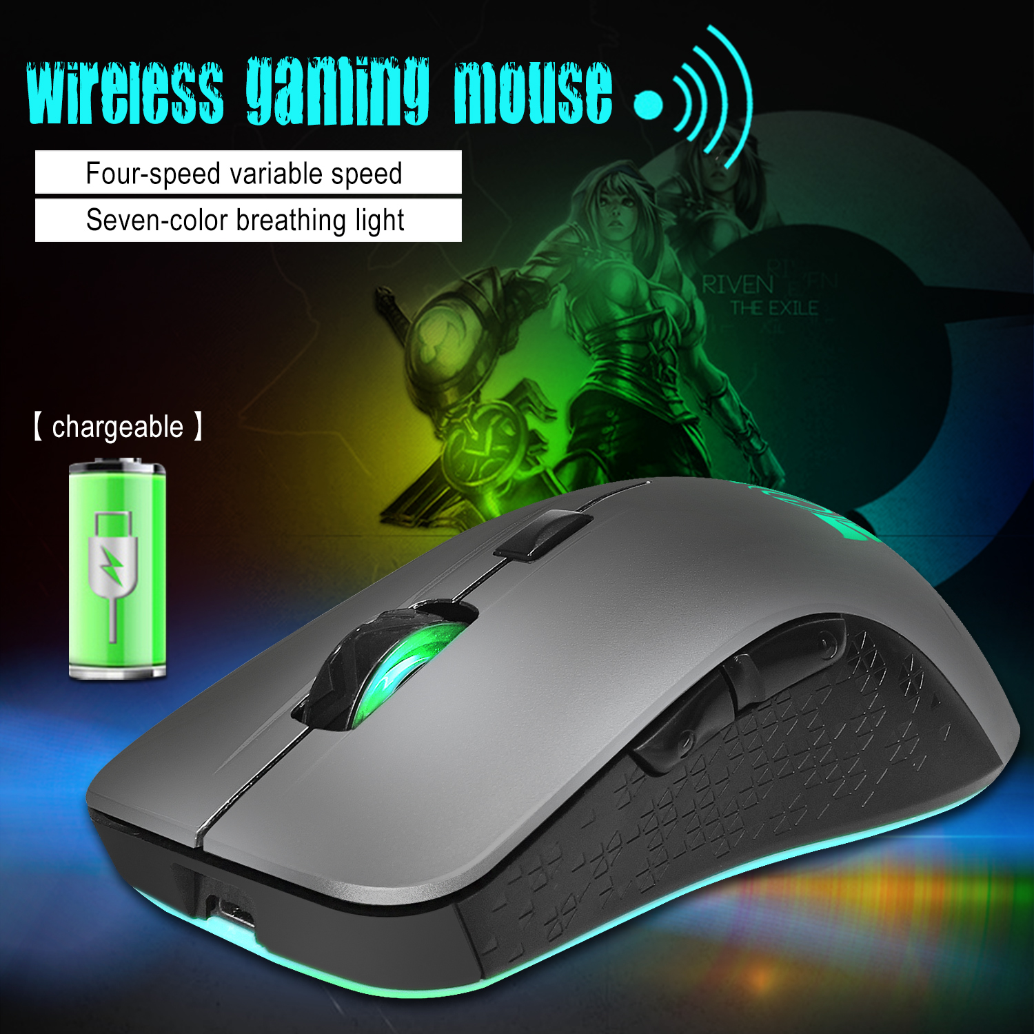 70a30c3dd15 2019 ZERODATE Wireless Mouse 2.4G Built In Rechargeable Battery 2400 ...
