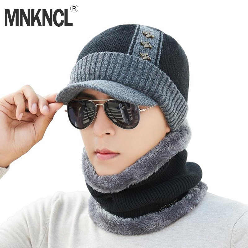 MNKNCL Winter   Skullies     Beanies   Hat Scarf Set Men Knitted Hat Caps Male Gorras Bonnet Warm Winter Hats For Men Women   Beanies   Hats