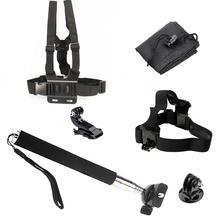 For Gopro Equipment equipment hero 2 three three+ four session SJ4000 for xiaomi yi Headband+Chest strap+Monopod + J-Hook