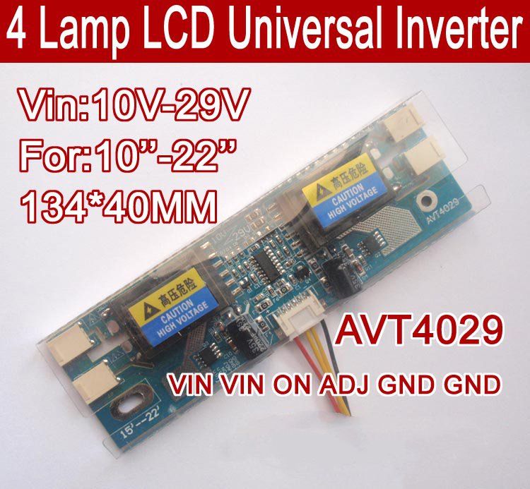 AVT4029 PC LCD MONITOR CCFL 4 LAMP Universal Lcd Inverter Board,4 Lamp 10V-29V For 10-22
