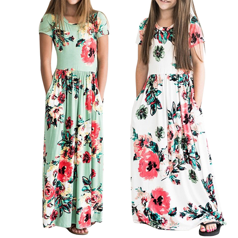 Fashion   Flower     Girls     Dress   cotton Party Birthday Summer Vacation beach long boho maxi   Dresses     girls   Clothes for 2-8years