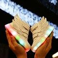 2016 Новая Мода Мультфильм Крылья Легкие Спортивная Обувь детская свет USB заряженных Красочные Вспышки Обуви Мальчики Девочки Кроссовки 002