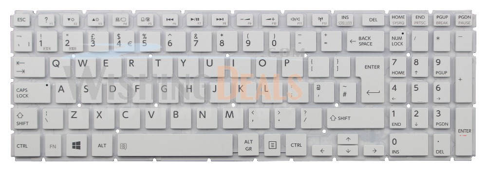 New UK White keyboard for Toshiba AEBLIE00120 9Z.NBCSQ.10U NSK-V91SQ