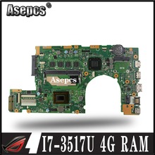 Asepcs S400CA материнская плата для ноутбука ASUS S400CA S500CA S400C S500C S400 S500 Тесты оригинальная плата 4G Оперативная память I7-3517U/3537U
