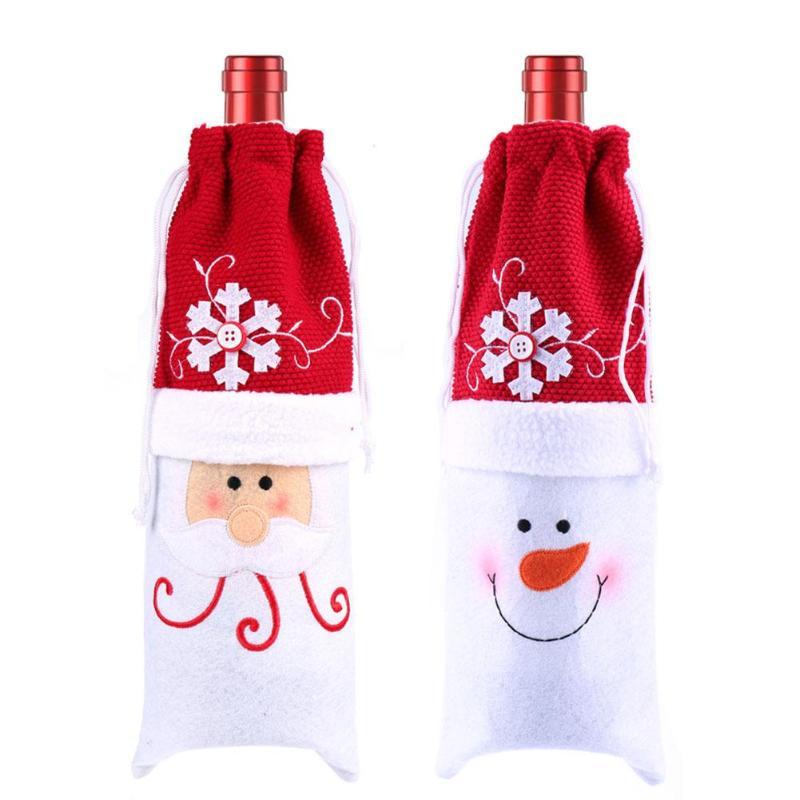 1 St Kerst Wijnfles Cover Zak Nieuwe Jaar Kerst Decoratie Voor Thuis Gift Bag Kerstman Sneeuwpop Herten Diner Tafel Decor Aantrekkelijk Uiterlijk