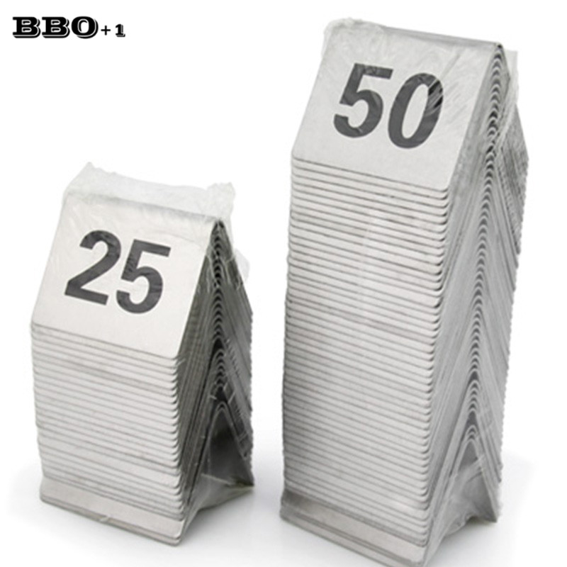 Stainless Steel Table Number Cards Wedding Restaurant Cafe Bar Table Numbers Stick Set For Wedding Birthday