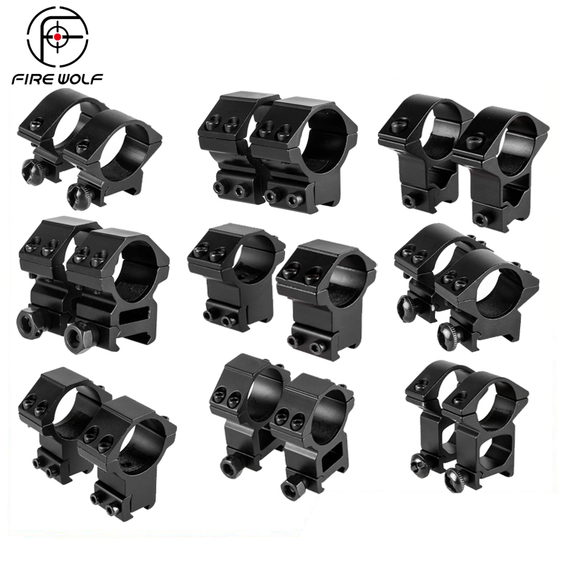 FIRE WOLF 30mm / 25.4mm  Riflescope Mount Ring 11mm / 20mm Dovetail Rail High Profile Low Profile For Rifle Scope Hunting Mount