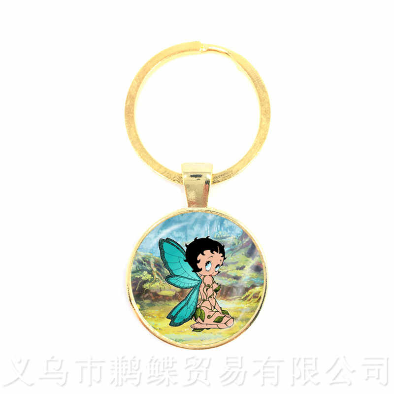 Classical Cartoon Character Betty Boop Glass Cabochon Keychains Handmade Keyring Jewelry Wonderful Gifts