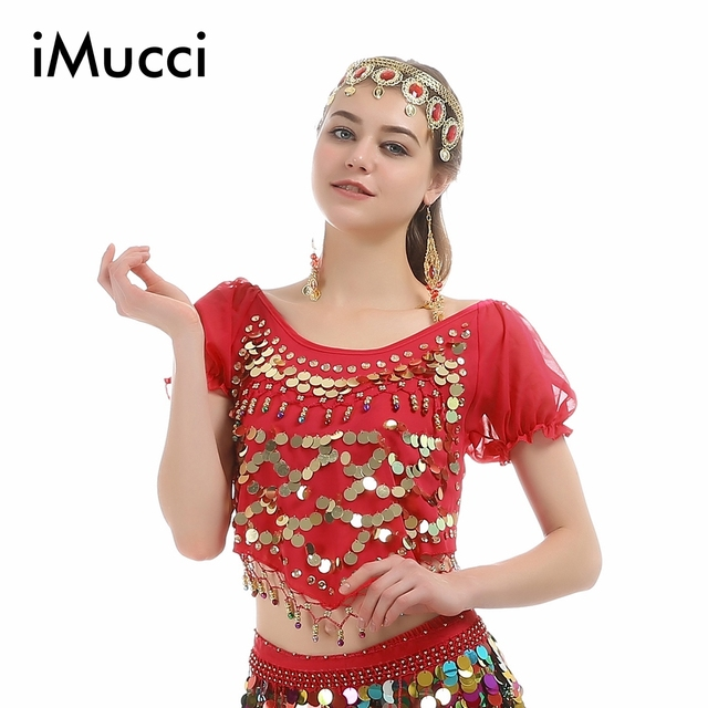 5f3e4f17af07 iMucci 6 Colors Little Pepper Short Sleeve Adult Women Belly Dance ...