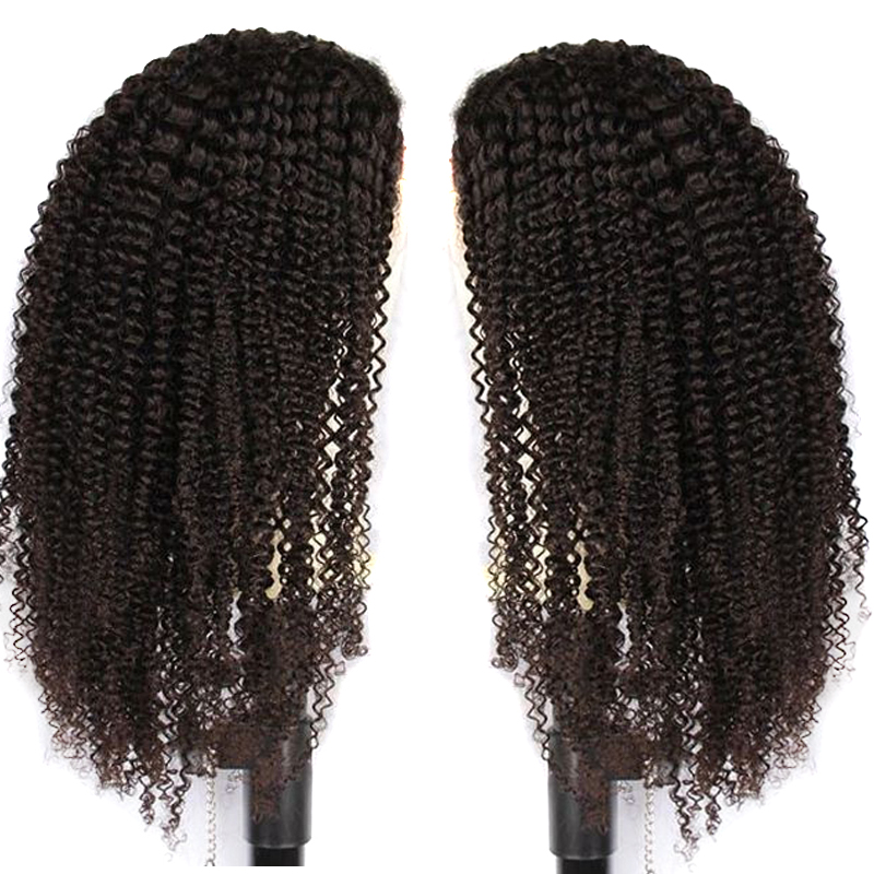 Mongolian Kinky Curly Glueless Full Lace Human Hair Wigs Invisible Bleached Knots Preplucked With Baby Hair