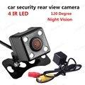 Hot vender 120 Graus de ângulo de visão câmera reversa Night Vision visão traseira do carro câmera de segurança CCD 4 IR LED