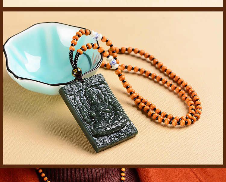 Натуральный темно-зеленый Хотан нефрит кулон ручной резьбой тысяч руки Гуань-Инь круглый Цепочки и ожерелья Мужская Мода нефриты ювелирные изделия