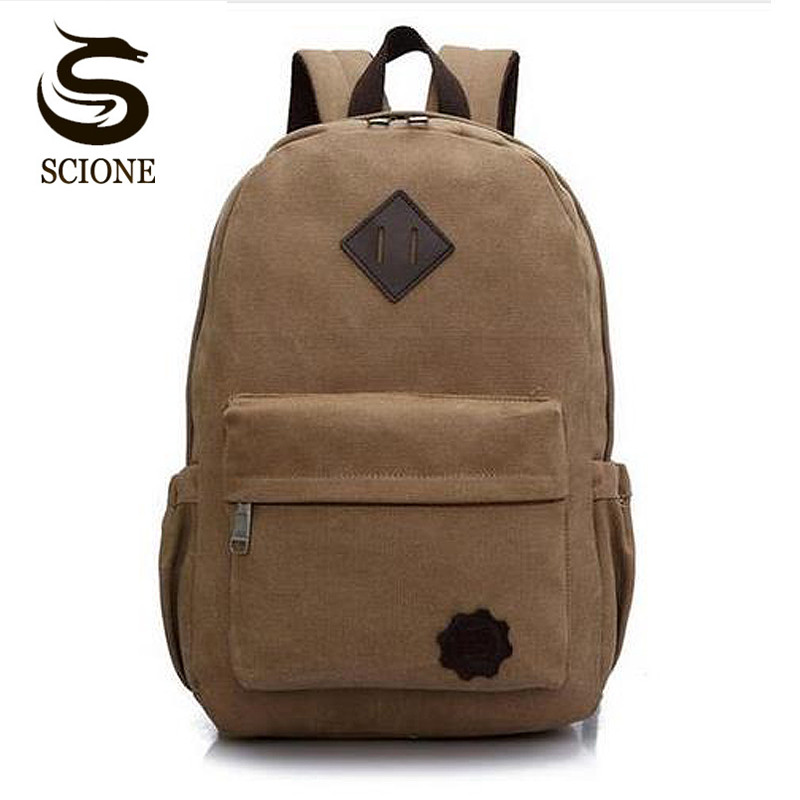 Scione Canvas Laptop Backpack for Men Teenager School Backpack Black School Bag Vintage Women Travel Rucksack Shoulder Bag Pack цена