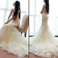 Custom Made Mermaid Wedding Dresses 2017 White Lace Strapless Backless Chapel Train Wedding Gown Off The Shoulder Bridal Gown