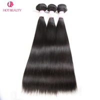 Hot Beauty Hair 3 Bundles Straight Hair 100% Human Weaves 3 Bundle Deals 10 28 Inch Natural Color Malaysian Remy Hair Extension