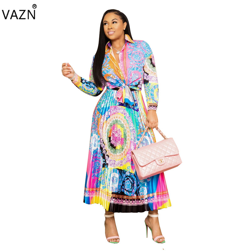 VAZN 2019 Vacation Mature Fashion Sexy 2 Piece Women Set Retro Full Sleeve Top Chiffon Maxi Skirts Bodycon Beach Set YC1727-3