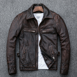Image 3 - Free shipping,Asian plus size mens genuine leather jacket,vintage brown casual cowhide coat,Brand new slim motor jackets.sales.