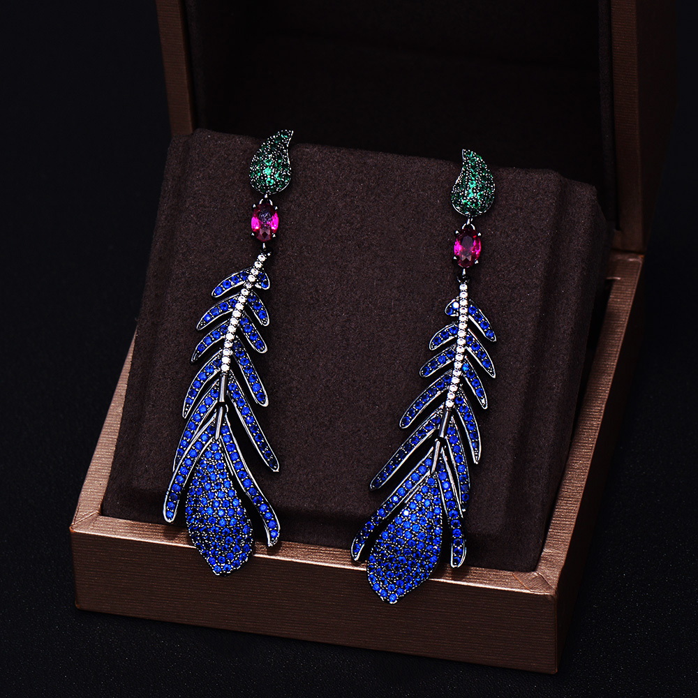 GODKI Brand New Fashion Luxury Feather Cubic Zirconia Pave Silver Needle Wedding Dangle Earring For Women 7.1CM*1.8CM new digital balance voltage power watt meter analyzer tester checker for rc helicopter battery charger 60v 100a wattmeter