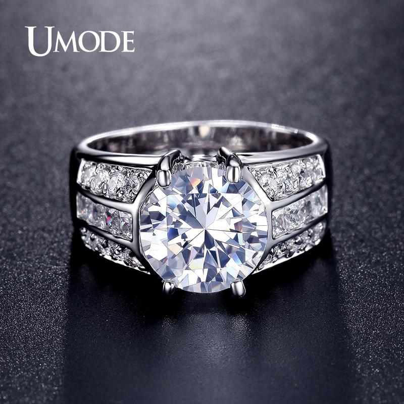 все цены на UMODE Classic Design Big Simulated CZ Stone Rings Fashion Wedding Band Jewelry for Men Women Lot Bijoux En Gros Bagues UR0331