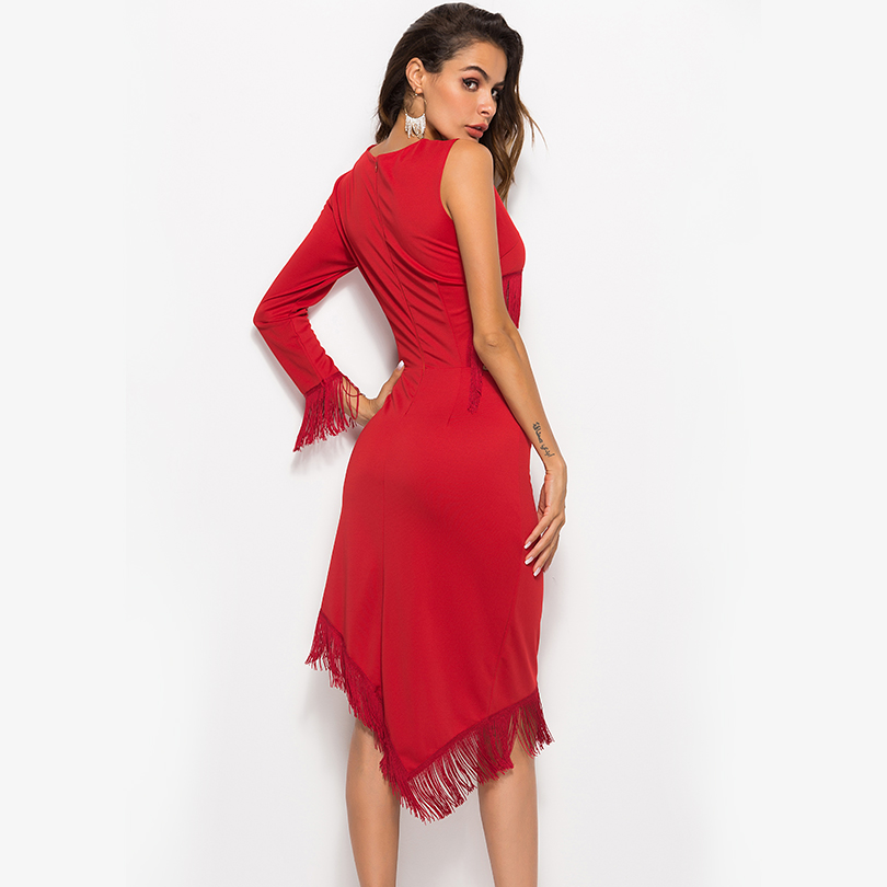 Sexy O Neck Tassel Women Dress Midi Patchwork Trumpet Vintage Female Dress 2019 Summer Beach Style Fashion Casual Party Clothing in Dresses from Women 39 s Clothing