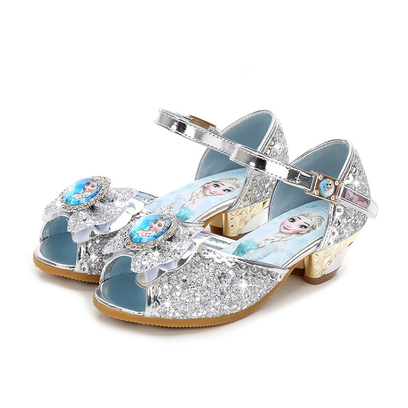 2019 New Frozen Elsa And Anna Girls Sandals With Glitter Bow Disney Princess Kids Soft Shoes 2#20/10D50