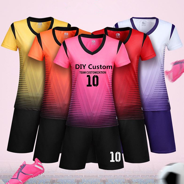 Women soccer jersey sets female sport kit volleyball football jerseys  shirts training shorts suits uniforms draw custom printing 2baba8b3908ff