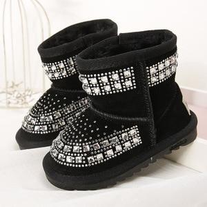 Image 2 - Toddler Baby Girls Winter Snow Boots Kids Leather Bling Bling Shoes Reihnstone Footwear Ankle Princess Botas Black Pink Purple