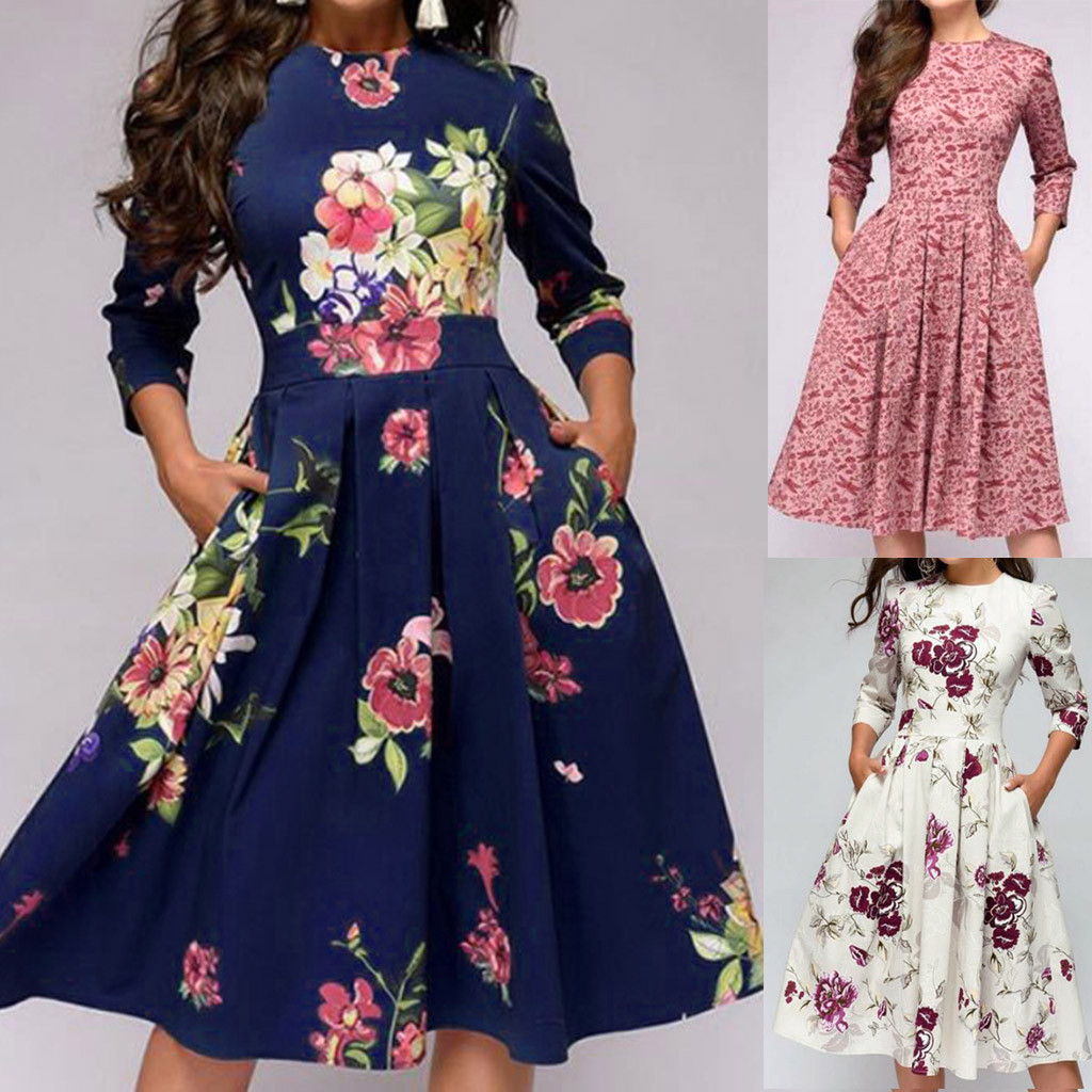 Chinese Style 2019 Latest Spring&SummerWomen Printing Long A-line Elegant Ruffles Sleeve Vintage Dress Wholesale
