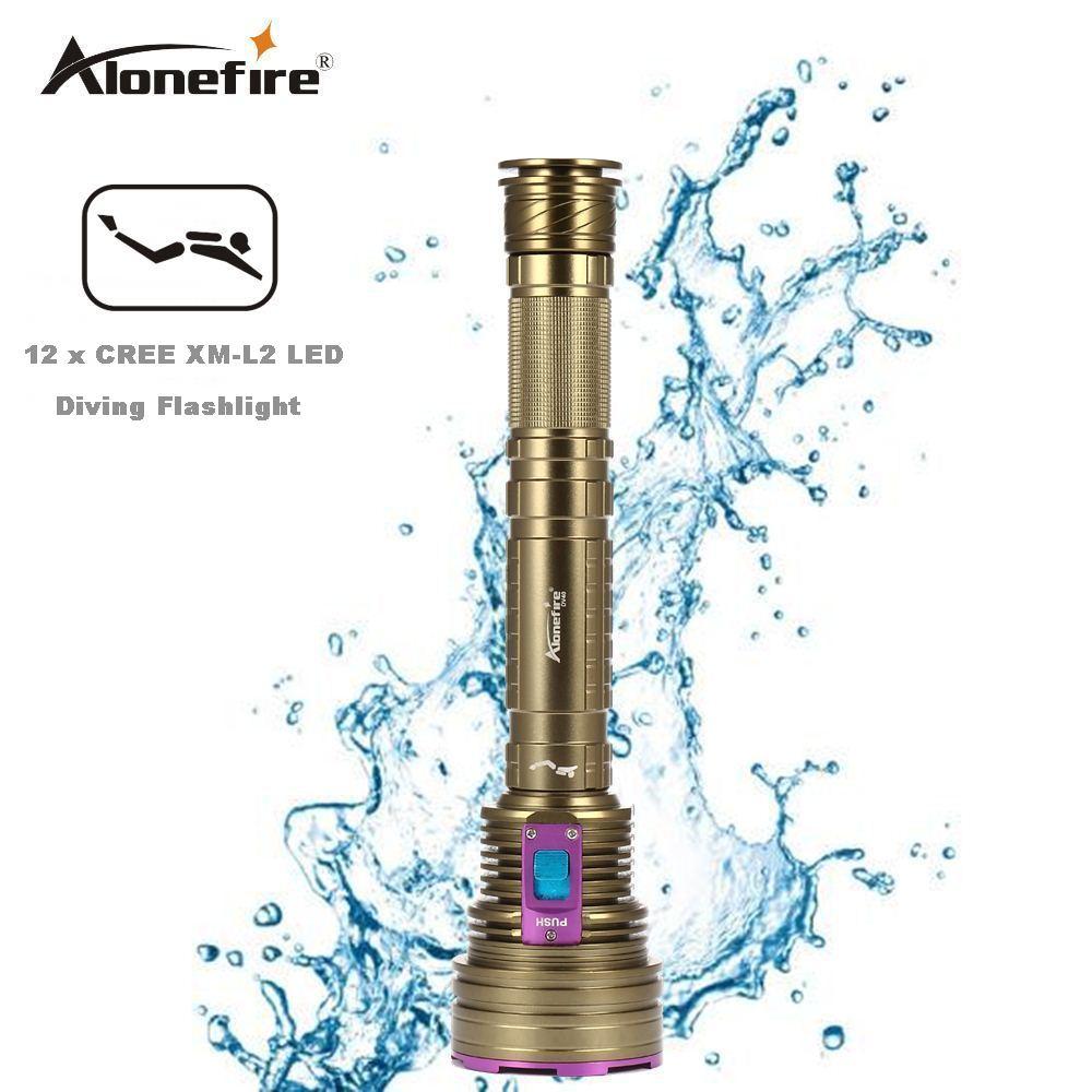 AloneFire DV40 30000Lumen 12*XML L2 LED 26650 Diving Flashlight Torch 100M Underwater Waterproof LED Flash Light Lantern