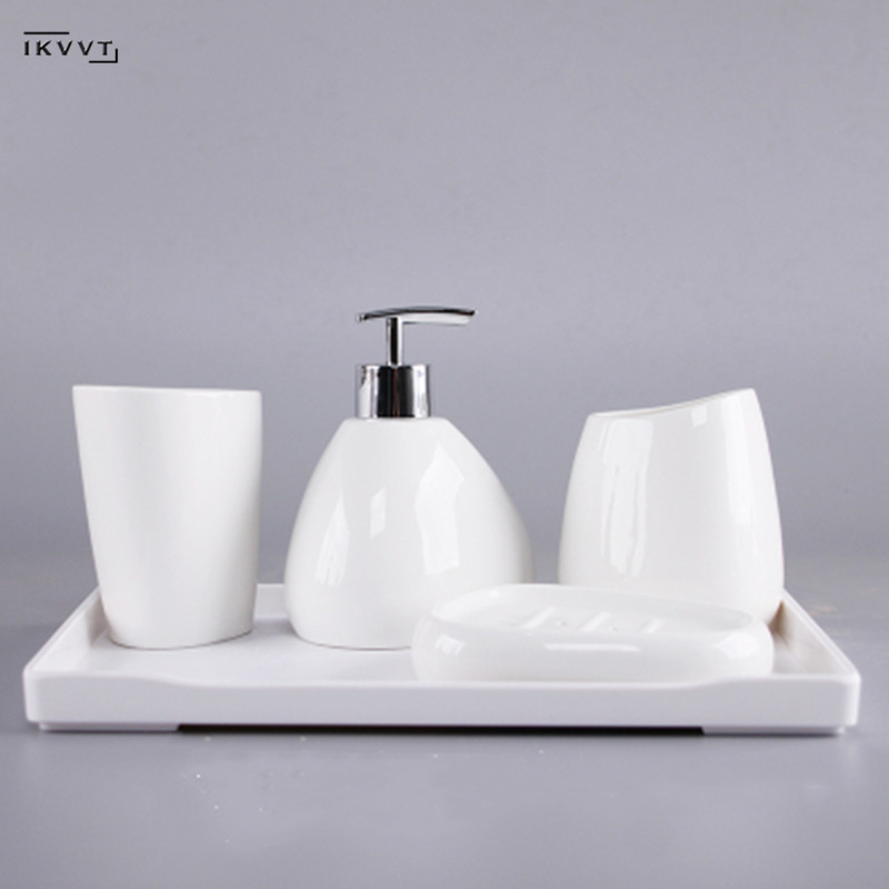 Ceramics Bathroom Accessories Set Soap Dispenser/Toothbrush Holder/Tumbler/Soap Dish Cotton Swab Aromatherapy Bathroom Products