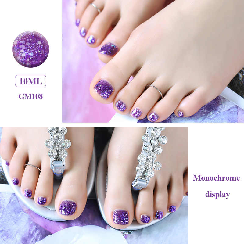 UV Gel Lacquer For Foot Nail Polish Diamond Glitter Pure Color Effect Nail Art Decoration 2018 Newest 1 Bottle/10ML