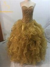 2018 New Gold Quinceanera Dresses Ball Gowns Sweetheart Beaded Crystal Appliques Sweet 16 Dress Vestidos De 15 Anos QA405