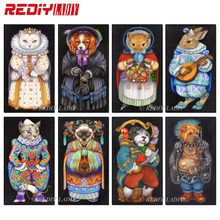 REDIY LADIY Diamond Painting Cross Stitch Kits 3D Diamond Embroidery Queen Cat King Dog Diamond Mosaic Pattern Home Decor Gifts(China)