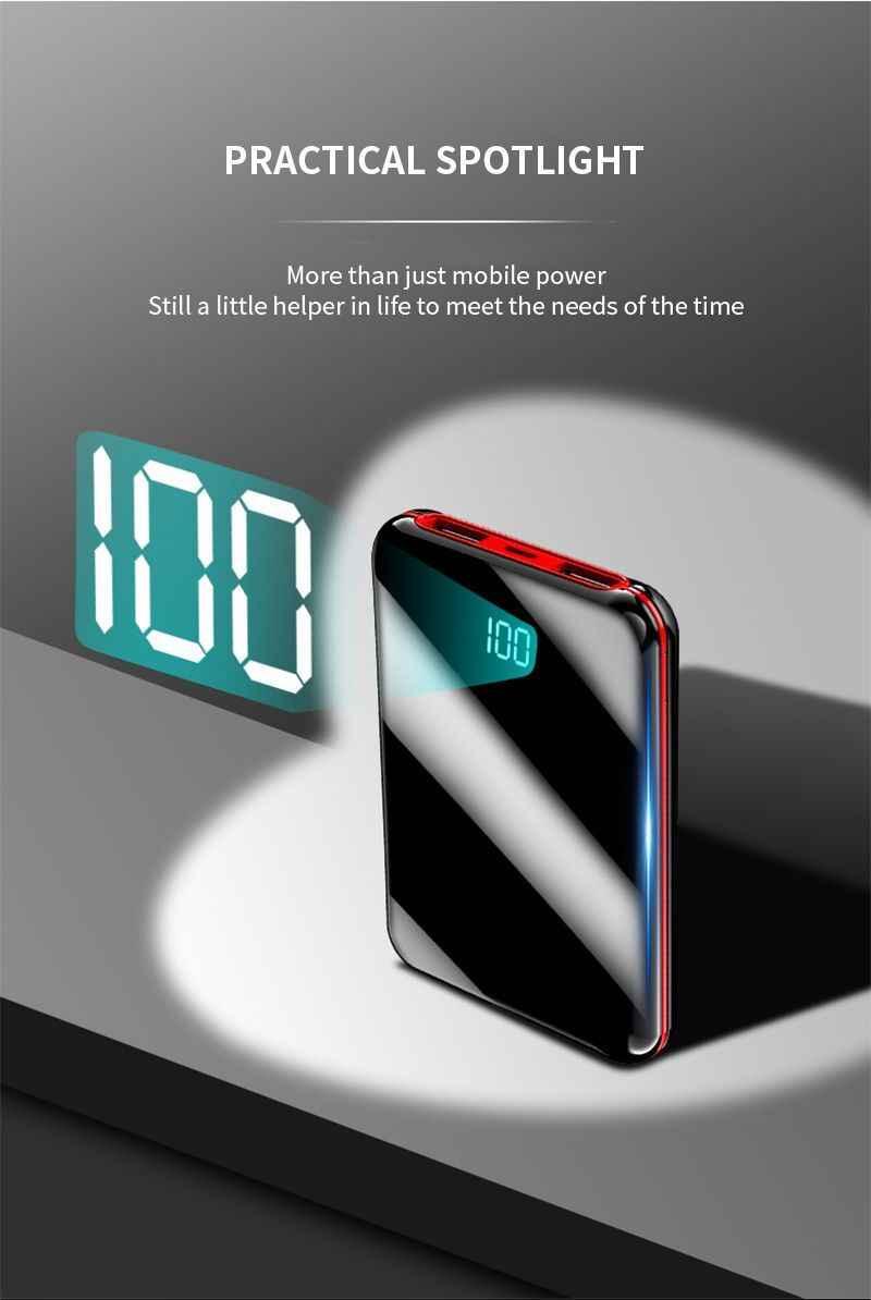 30000 mAh المحمولة باور بانك صغير مرآة الشاشة الرقمية Disply Poverbank بطارية خارجية حزمة تجدد Powerbank ل الذكية الهاتف المحمول