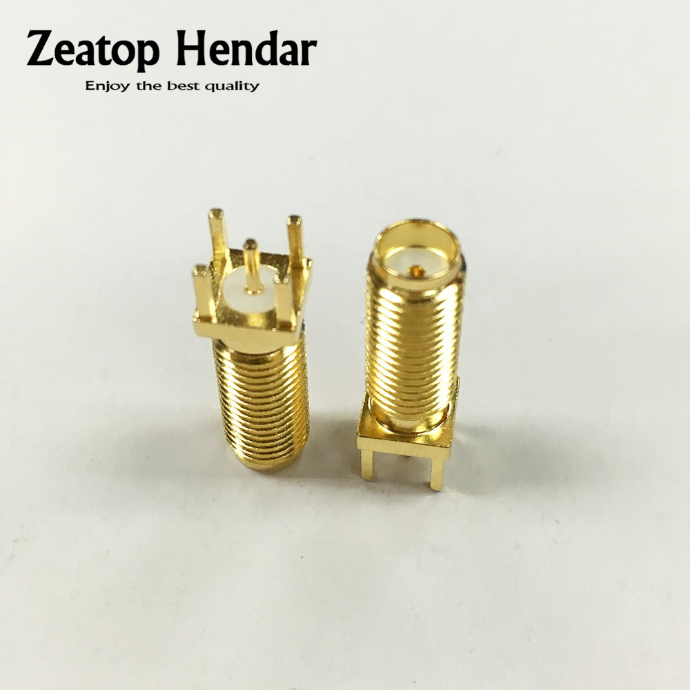 100Pcs Copper Gold Plated SMA Female Plug Straight Longer Solder PCB Board Mount RF Coaxial Connectors