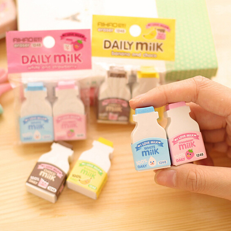 2pc/ Package Kawaii Fruit Milky Mini Eraser Creative Cute Cartoon Children'S Student Gifts Stationery School Office Supplies