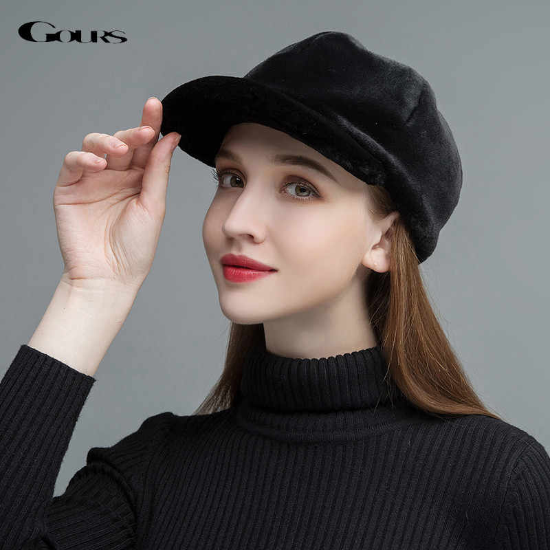 Gours Women s Fur Hats Real Sheep Shearing Caps Cotton Lining Warm In Winter  Fashion Black Wool 66013be32c5