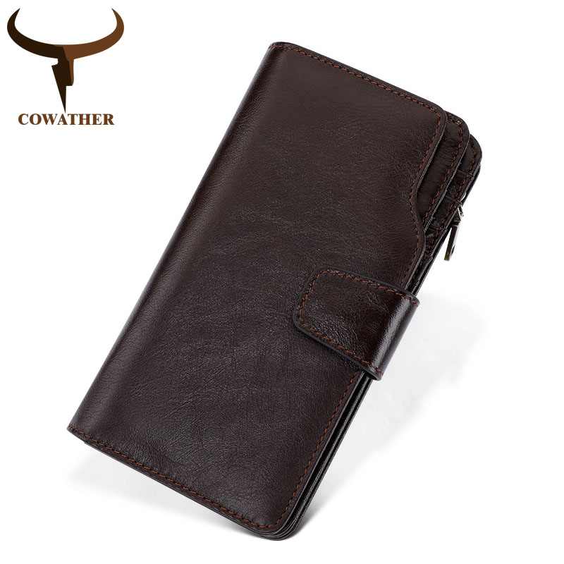 COWATHER cow genuine leather high quality male purse long style men wallets for business men new wallets C9322 free shipping cowather 2017 new men wallet cow genuine leather for men top quality male purse long carteira masculina free shipping r 8122q