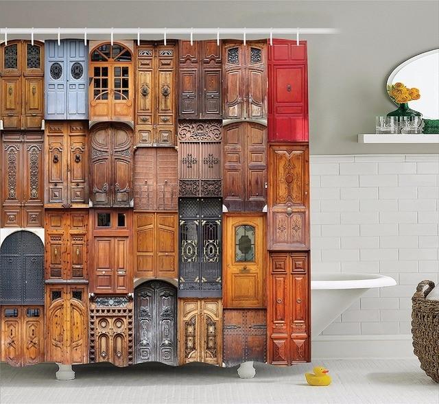 Us 19 99 Hochwertigen Kunst Dusche Vorhange Tur Serie Holz Von Tur Ist Angeordnet Bad Dekorative Moderne Wasserdicht Duschvorhang In Hochwertigen