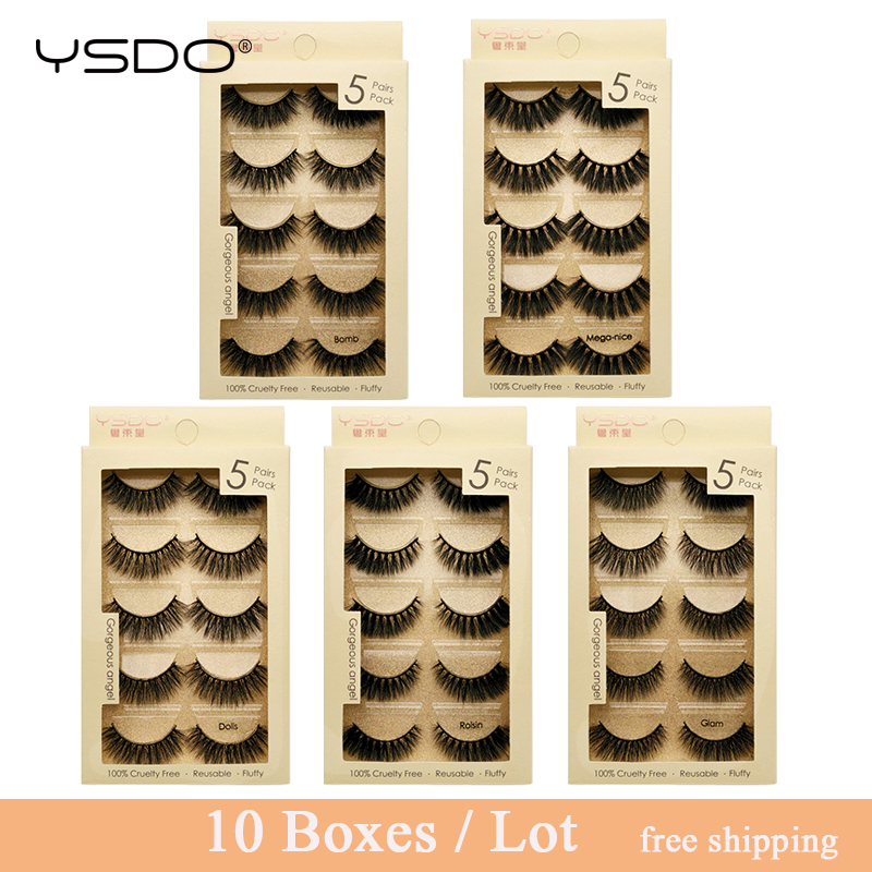 YSDO 10 boxes 3d mink lashes eyelash extension faux cilios mink false eyelashes 50 pairs fluffy