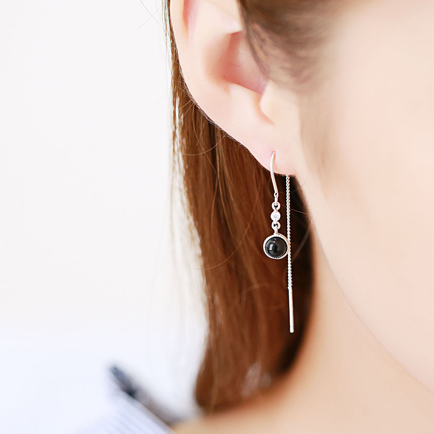 black earrings 100% 925 Sterling silver Jewelry fashion Hypoallergenic dangle earrings for women gift charms